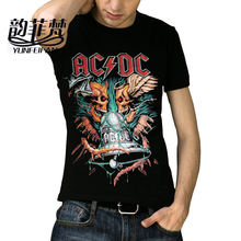 2017 New Streetwear T Shirts 3d Printed Cotton Tops Mens ACDC Bells' Heavy Metal Short T-Shirt Hip Hop Fitness Skull Tees Homme