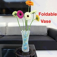 E74 10pcs/lot Foldable Plastic Flower Vase Unbreakable Reusable Home Decor Vase Wholesale
