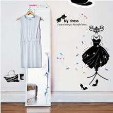 JU 27 2017 Hot Selling Fashion Boutiques Decoration My Dress Wall Stickers Decals Art PVC Wall Posters 421(China)