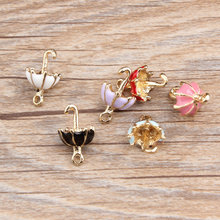 50pcs New Alloy oil drop gold color 3D Summer beaches Sun umbrella shape jewelry charms diy necklace/key/phone chain pendants