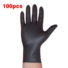 100PCS/SET Household Cleaning Washing Disposable Mechanic Gloves Black Nitrile Laboratory Nail Art Anti-Static Gloves(China)