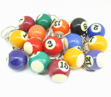 Free shipping 16pcs/lot Pool Billiard Snooker Ball Keychain Keyring for men jewelry(China)