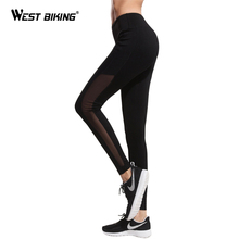 WEST BIKING Yoga Leggings Women High Waist Quick-Dry Tight Breathable Sexy Sports Mesh Pockets Running Fitness Yoga Pants(China)