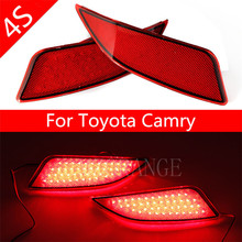 Red Lens LED Rear Bumper Reflector Assemble Brake & Driving Lamp BackupTail Fog Lights For Toyota Camry 2014 2015 2016