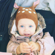MILANCEL Autumn Winter Baby Hats Kids Cute Deer Hat Beanie Cap Toddler Infant Baby Girls and Boys Knitted Hat Photo Props(China)