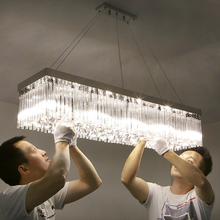 Modern simple LED warm romantic long strip rectangular restaurant lights dining room meal hanging crystal lamp hanging fixture(China)