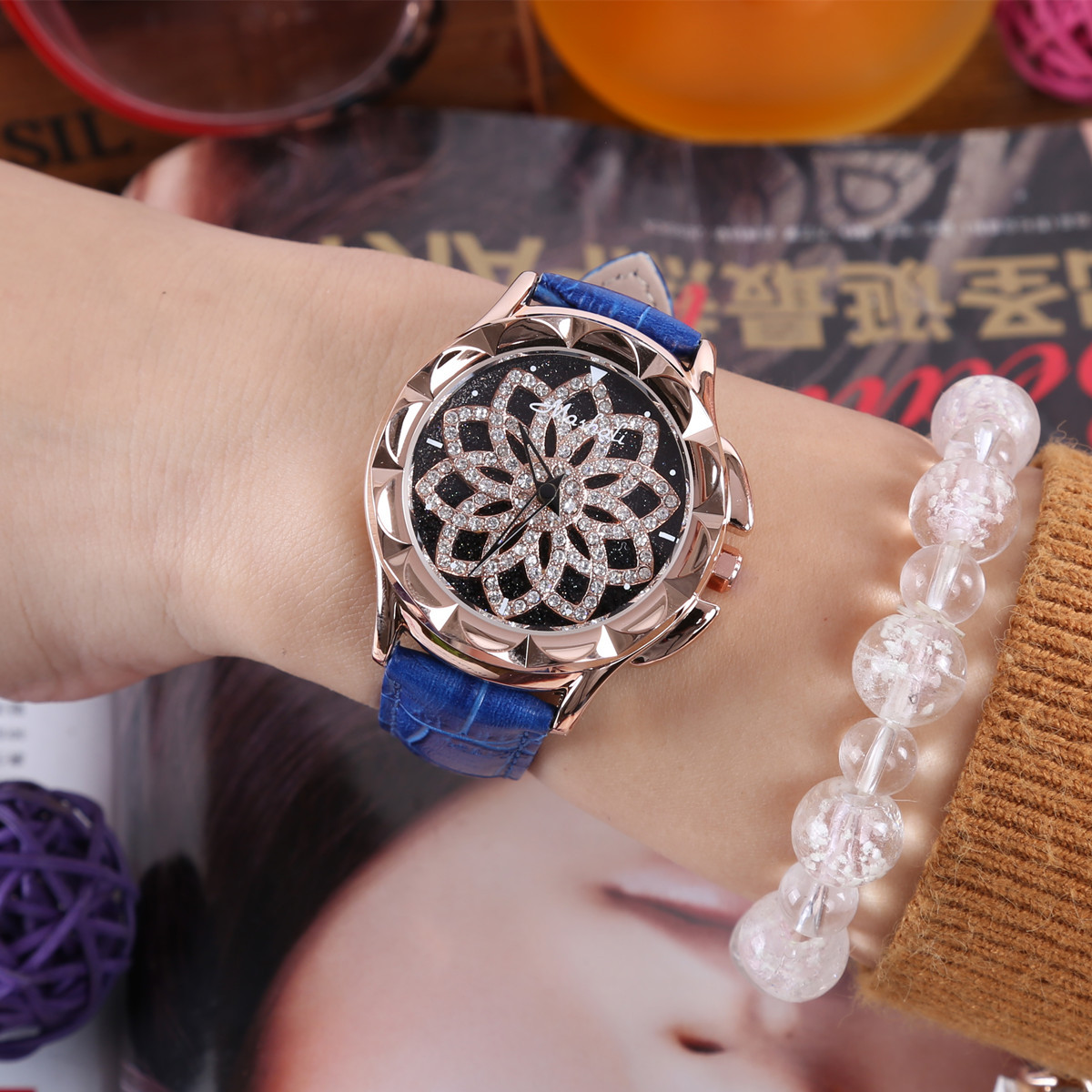 Brand Watch Women waterproof Ms Quartz Watches fortunes Lady Rotation Dress watch female Clock Genuine Leather Wristwatch<br>