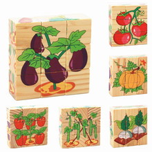 6 Sides Colorful Wisdom Jigsaw Puzzle Kids Wooden Cartoon Design Puzzle Toys Child Early Education Toys Parent-Child Game MPT006(China)