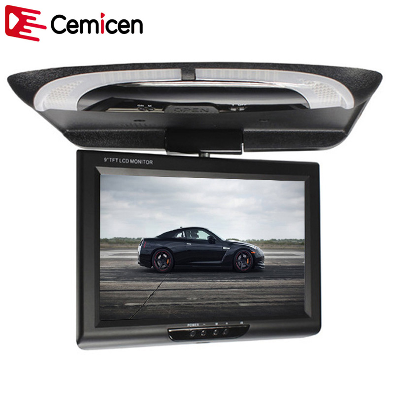 Cemicen 9 Inch 800*480 Car Roof Mount LCD Color Monitor Flip Down Screen Overhead Multimedia Video Ceiling Roof mount Display(China)