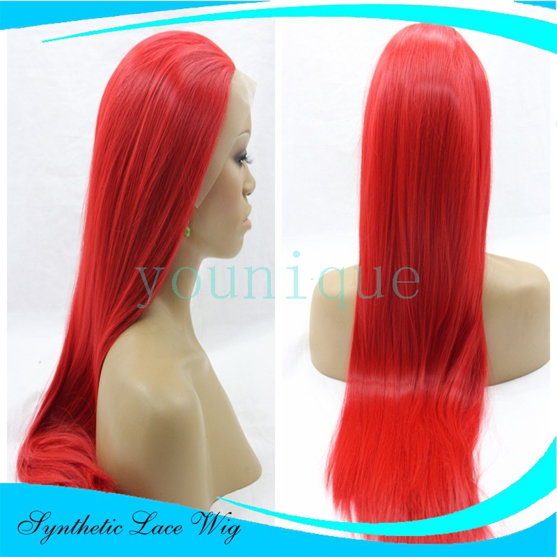 Lace front wigs African black women hair Red long straight hair Heat resistant fiber synthetic wig Fashion show Party Wig<br><br>Aliexpress