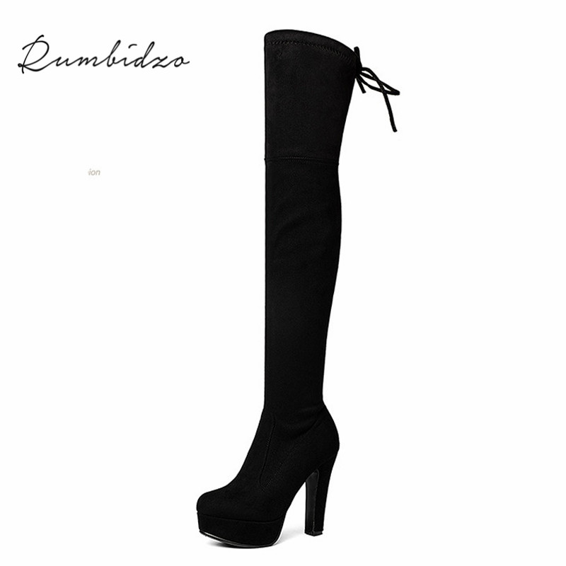 Rumbidzo 2017 Fashion Women Boots Knee High Boots Platform Round Toe Slim High Heels Bootie Woman Shoes Sapatos Botas