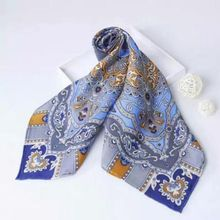 Spring Paisley Print 100% Silk Twill Scarf Women's Big Square Hand Rolled Pure Silk Scarves Shawl Wraps Accessory 90x90cm
