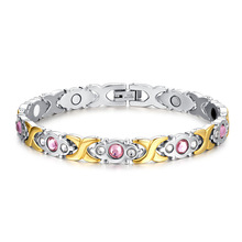 Fashion Female Crystal Germanium Bracelets Stainless Steel Zirconia Health Magnets Energy Bracelets Jewelry For Women