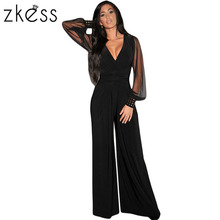 Zkess Women Fashion Sexy Clubwear Bodysuit Black Embellished Cuffs Long Mesh Sleeves Jumpsuit Hot Sale Casual Clothes LC6650(China)