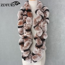 ZDFURS * Winter womens Real rex Rabbit Fur stole Wrap Muffler loop infinite  rex rabbit fur scarf shawl neckerchief ZDS-162002