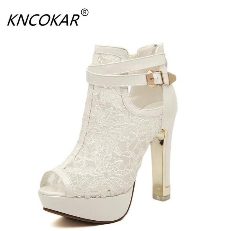KNCOKAR 2018 quick sale of hot style foreign trade new fish-mouth womens shoes and sandals banquet girl style short sandals<br>