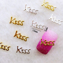 "10Pcs/Lot 5*10mm Gold Silver Letter ""Kiss"" Sweet   Metal Alloy Nail Art Decorations 3D DIY Nail Stickers Jewelry Nail Charms"