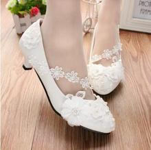DHL free shipping elegant white wedding shoes lace up flower bridal shoes high heels women pumps(China)