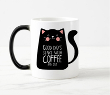 Super Cool cat Mugs Color Change Ceramic Coffee Mug and Cup Fashion Gift Heat Reveal Magic Mugs for Friend