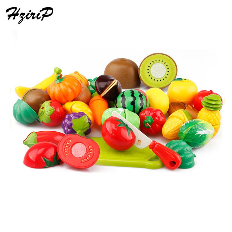 Hot Sale Plastic Kitchen Food Fruit Vegetable Cutting Kids Pretend Play Educational Toy Safety Children Kitchen Toys Sets