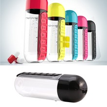 2 in 1 Multi-function Medicine Storage Combine Daily Weekly Seven Pill Box Organizer Water Bottle Portable Pill Case