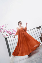 Women Long dress Spaghetti Strap Loose Thailand's Popular Logo Orange Pleated Off-the-shoulder Holiday Sea Dresses 7936