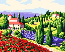No Frame Landscape DIY Painting By Numbers Green mountain village Drawing Painting By Numbers Kits Paint On Canvas Wall Picture