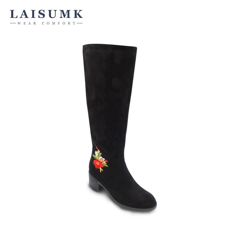 2017 LAISUMK Women Fashion Embroider Knee High Boots Matte Suede Square Heel Zipper Boots Winter Plush Riding Boots<br>