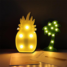 Decorative Party LED Bedroom Cartoon Pineapple Table Coconut Tree NightLight DIY Party decor lights best gift for Kid Child