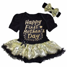 Baby Girl Sparkle Happy First Mother's Day, I Love My A+ Mum Black Gold Sequin Bodysuit Tutu and Headband 0-18M