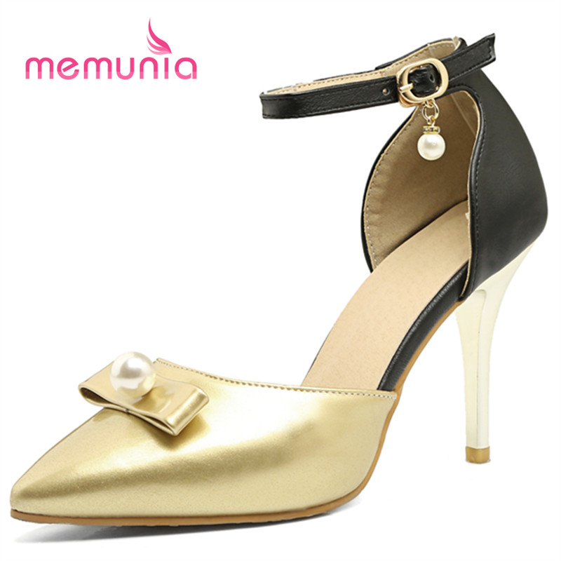 MEMUNIA Two colors thin high heels shoes women sandals pointed toe shallow buckle party shoes summer big size 32-43 <br><br>Aliexpress