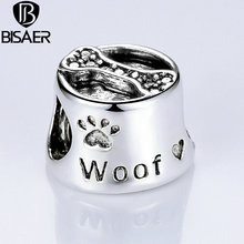 Free Ship Vintage Silver Color Cute Dog Footprint & Bone European Baby Charms fit Pandora Bracelets DIY Accessories HJ5292