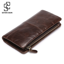 2017 New First Layer of Real Leather Wallet Men's Oil Wax Retro Zipper Wallet Multi-Card Bit Long Wallet Clutch Genuine Carteira