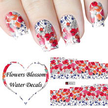 Full Wraps Nail Water Decals Sticker Hot Red Flower Pattern A061-A090 Nail Stickers Nail Art Decorations Beauty Manicure(China)