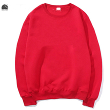 EnjoytheSpirit 2017 Men's Crewneck Sweatshirt Red Solid Color Male Fleece Hoodie Plain Casual Long Sleeve Rib Crewneck Tops(China)