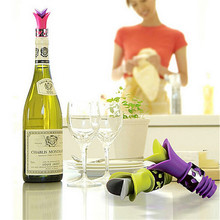 2016 Lily Wine Bottle Stoppers Silicone Approved Food Grade Durable Wine Pourer Kitchen Bar Tools EJ872575(China)