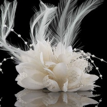 8 Colors Flower Feather Bead Corsage Hair Clips Fascinator Bridal Hairband Party(China)