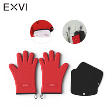 EXVI 2PCS Extreme Heat Resistant Barbecue Oven Glove and Table Mat Thick Silicone Kitchen BBQ Grill Glove Oven Mitt Pastry Glove(China)