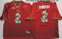 Nike 2016 Florida State Seminoles Red  SANDERS #2 Star and Players picturesT-shirt Limited Jersey