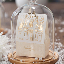 (25 pieces/lot) Wedding Favors Luxury Castle Design Chocolate Candy Box Champagne Color Hollow Out Wedding Favors Boxes CB5093(China)