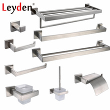 Leyden SUS 304 Stainless Steel Bathroom Hardware Set Brushed Nickel Paper Holder Towel Bar Robe Hook Bathroom Accessories Bath(China)