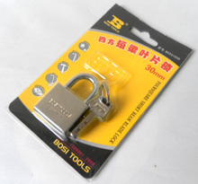 Free shipping BOSI 30mm brass padlock master lock with 4pc keys(China)