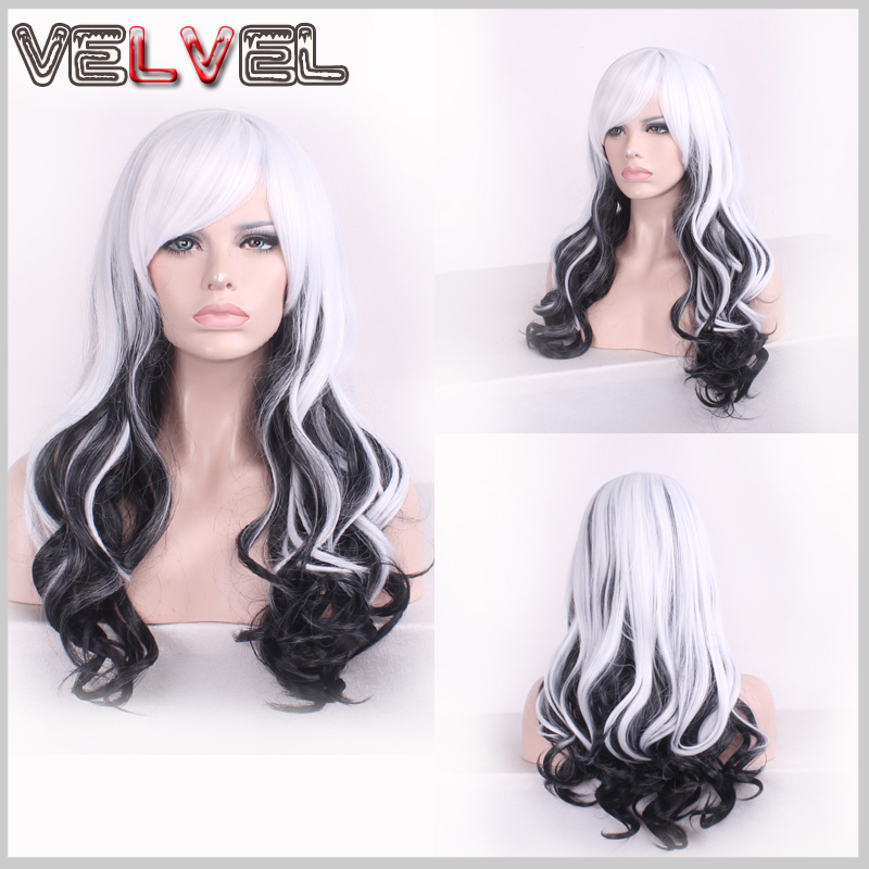 Women Heat Resistant Black Mix White Long Curly High Quality Skin Top Wigs Two Tone Hair Wigs Fashion Lady Full Wig+Free wig cap<br><br>Aliexpress