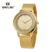 BELBI Top Luxury Brand Men's Watches Ultra Thin Stainless Steel Mesh Band Quartz Wristwatches Digital Simple Dial China Watches(China)