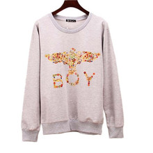 The new women  autumn and winter sweatshirt diamond heat transfer Eagle round neck long - sleeved European and American cashmere