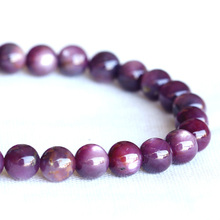 Wholesale Natural Genuine Red Africa Starlight Shine Ruby Bracelet Smooth Round beads Finished Stretch Bracelets Beads 6mm 04013(China)