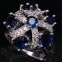 Charming Hydrangea Flowers Gems Deep London Blue Onyx White Cubic Zirconia 925 Sterling Silver Rings US# Size 6 7 8 9 S1521(China)