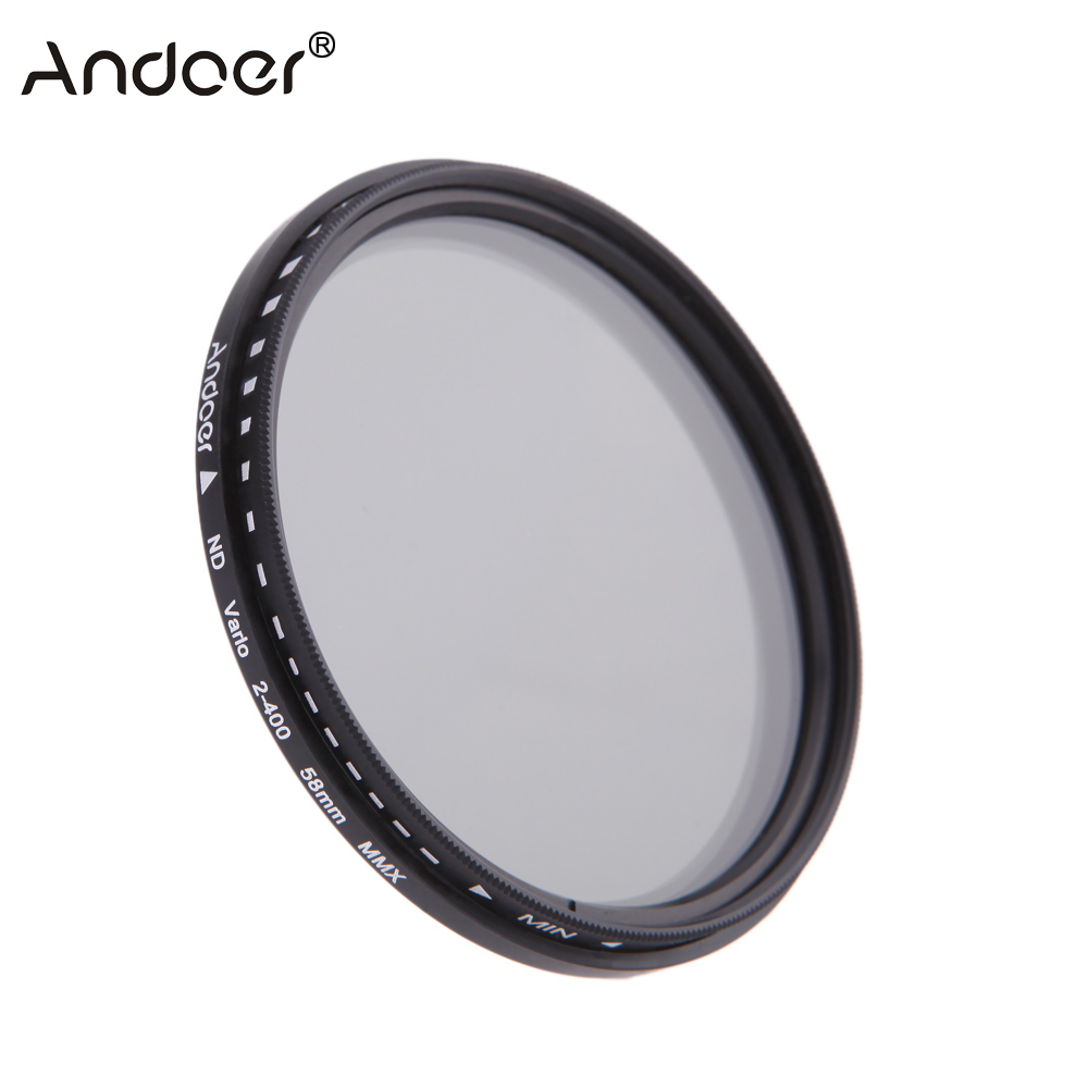 Andoer 58mm ND Filter Fader Neutral Density Adjustable ND2 to ND400 Variable Filter for Canon Nikon DSLR Camera(China (Mainland))