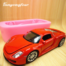 3D red sports car cake mold silicone mold chocolate gypsum candle soap candy mold kitchen baking free shipping