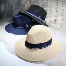2016 New Maison Michel Straw Hats Wide Brim M Letter Summer Hat Women Chapeu Jazz Trilby Bowler Summer Hats For Women